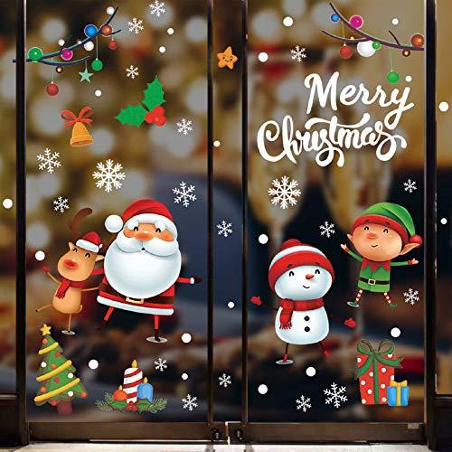 Tuopuda Natale Adesivi Porta Natale Vetrofanie Addobbi Fai Da Te Finestra Sticker Decorazione Babbo Natale Adesivo Vetrina Wallpaper Adesivi Rimovibile Adesivi Statico (Multicolore)