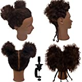 Afro Kinky Curly Hair Mannequin Head with 100% Human Hair Hairdresser Manikin Training Head Cosmetology Doll Head Tight Curls Hair-styling Practice Head with Clamp Stand