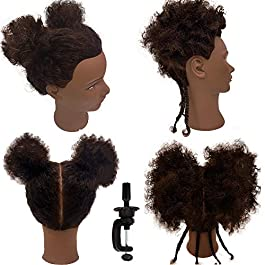 Afro Curly Mannequin Head with 100% Human Hair Curly Hair Hairdresser Hair Styling Cosmetology Manikin Head Doll head for Hairdresser Practice Styling Dye Braiding with Clamp Stand