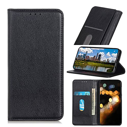 MINGYOUNG Funda tipo cartera compatible con Wiko Sunny 5, piel auténtica, diseño de libro, con ranuras para tarjetas, cierre magnético integrado, color negro