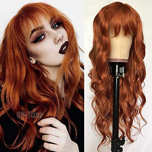 QD-Tizer Ginger Orange Color Loose Wave Hair Replacement Wigs for Fashion Women Heat Resistant Synthetic None Lace Wigs with Bangs