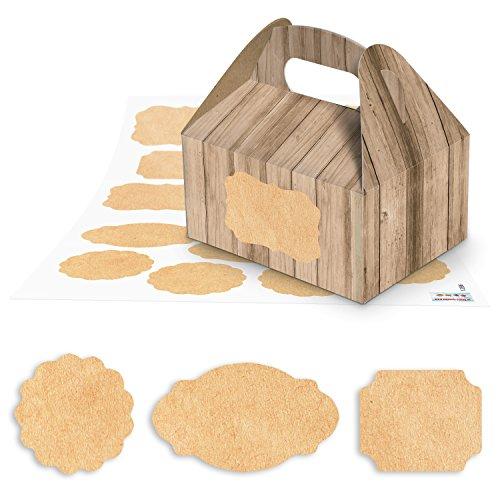 10piccole scatole regalo di cartone color marrone effetto legno (9x 12x 6cm senza manico) + 24vuoto ornamenti adesivi in la dimensione di 4fino a 6,5cm (12886) ideale per scrivere come Confezione Regalo