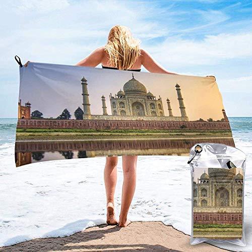 "Toalla de Playa 27.5 ""X 55"",Taj Mahal River Reflection Arena Ultra Suave Microfibra Portátil Absorbente de Agua Microfibra múltiple Sin Arena Toalla de Playa Manta"