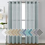 Luxurious Natural Linen Curtains - Functional Light Filtering Linen Sheer Curtains, Nickel Grommet Top Window Treatments Semi-Sheers - Teal - 52' W x 84' L - (Set of 2 Panels)