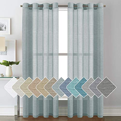"""Luxurious Natural Linen Curtains - Functional Light Filtering Linen Sheer Curtains, Nickel Grommet Top Window Treatments Semi-Sheers - Teal - 52"""" W x 84"""" L - (Set of 2 Panels)"""