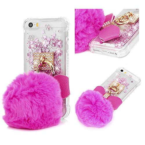 MOTIKO - Carcasa para iPhone SE, iPhone 5S, diseño de Bola de Diamantes en 3D, Color Dorado Rosa