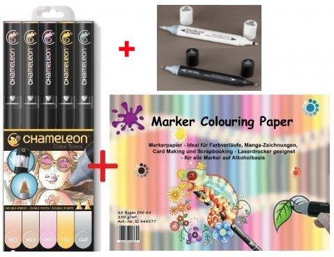 chameleon Pen Farbe Tones 5pen-set + 1x Papier + Mixer & detailpen–Der ideale Starter Set für Comic Manga Creative Scrapbooking Pastell Tones