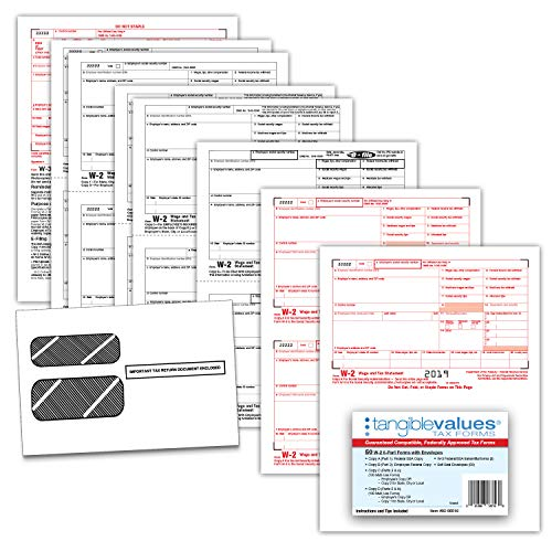 W-2 Tax Forms 2019 - Tangible Values 6-Part Laser Tax Form Kit with Envelopes - Accounting & QuickBooks Software Compatible, 50 Pack