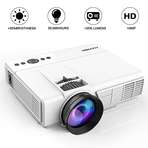 "Mini Projector,2018 Upgraded LED Video Projector +70% Brighter,176"" Display Portable Home Theater Projector Support 1080P Compatible with HDMI VGA AV USB TF Xbox Amazon Fire TV Stick"