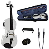 Cecilio 4/4 CVNAE-White Ebony Fitted Acoustic/Electric Violin in Pearl White(Full Size)...