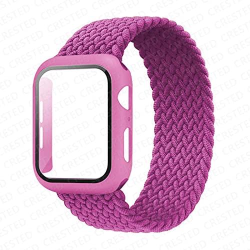 Banda trenzada de bucle individual para correa de Apple Watch 44 mm 40 mm 42 mm 38 mm Pulsera de nailon elástico + Estuche para PC para iWatch serie 6 5 4 3-Rojo púrpura, 42 mm serie 321