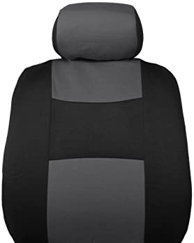 BDK PolyPro Car Seat Covers, Full Set in Charcoal on Black – Front and Rear Split Bench Protection, Easy to Install, ...