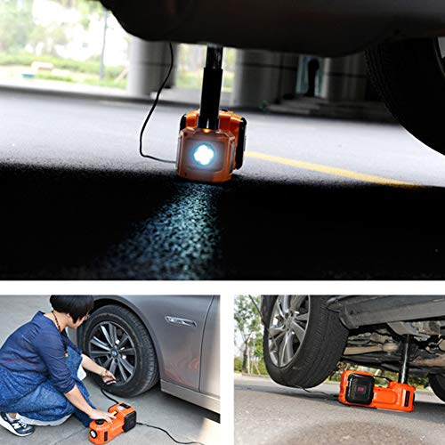 12V DC 5.0T(11023lb) Electric Hydraulic Floor Jack,Tire Inflator Pump and LED Flashlight 3 in 1 Set with Safe Hammer, Whole Set of Car Repair Tool Kit Electric Car J   ack