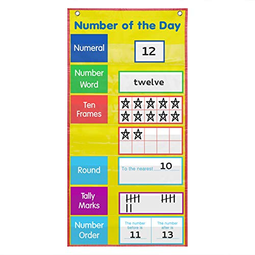 Number Pocket Chart,Number of The Day Chart with Cards,Yellow