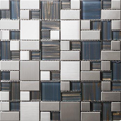 NEW !Tailles mixtes mosaico quadrato Vetro e acciaio inox mosaico mattonelle arte della parete 300*300mm--Cucina Backsplash/Parete da bagno/decorazione domestica(SA168)