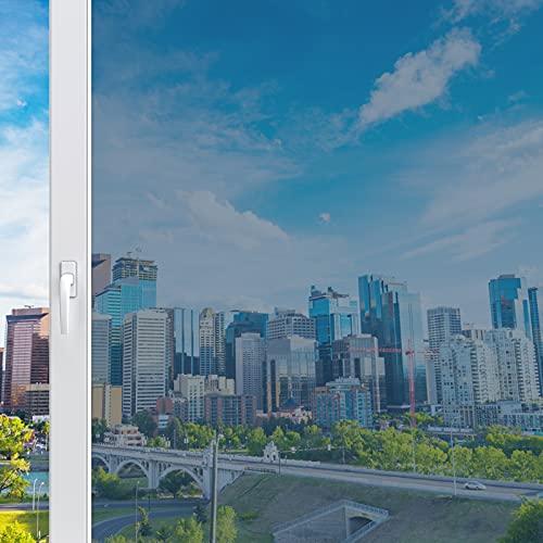 Haton Vinilo para Ventanas Efecto Espejo Cristal Unidireccional Lámina Electricidad Estatica Protector Solar Privacidad Vinilo Ventana Deorativos Adhesiva Anti 99% UV para Hogar Oficina 44.5x200CM