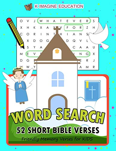 WORD SEARCH 52 Short Bible Verses: Friendly Memory Verses for Kids (first bible learning games)