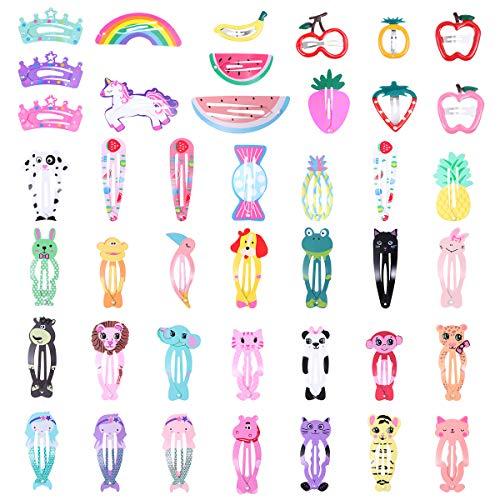 Frcolor 60pcs Colorido Snap Clips para el cabello Cute Cartoon Animals Barrettes Horquillas Sombreros Accesorios para el cabello para niñas bebés (estilo al azar)