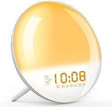 Wake Up Light, Sunrise Simulation Alarm Clock, Sleep Aid Colored Bedside Light with FM Radio Dual Alarm Adjustable Lightne...