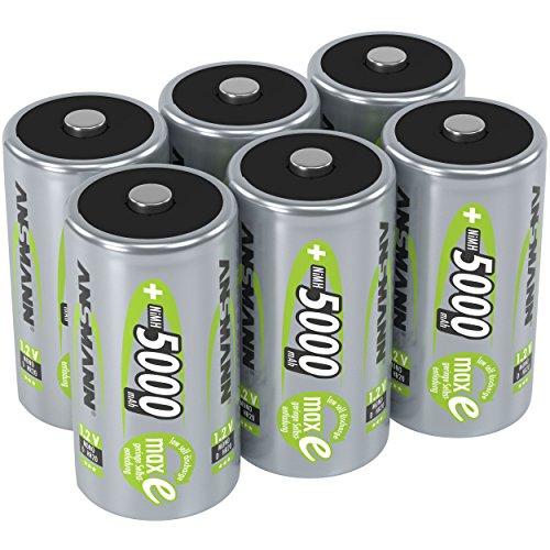 ANSMANN Akku D 5000 mAh NiMH 1,2 V (6 Stück) - Mono D Batterien wiederaufladbar, maxE geringe Selbstentladung für jahrelangen Einsatz