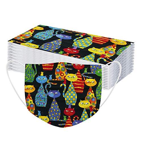 YAUzeun 30 Stück Erwachsene Mundschutz Multifunktionstuch, Katze Einweg 3-lagig Bunt Maske,Weiche Staubdicht Atmungsaktive Vlies Mund-Nasenschutz Bandana Halstuch
