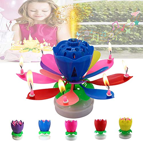 Rotating Lotus Cạndlê Birthday Cake Flower Musical Music Cạndlê with Music Magic,Birthday Cạndlê,Flower Rotating Happy Birthday Cạndlê-4pcs