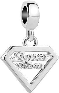 Q&Locket Super Mom Charms Dangle Charm Beads for Bracelets