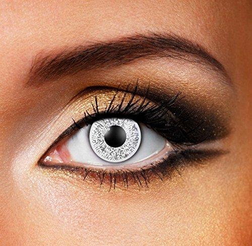 Funky Vision Kontaktlinsen Glimmer - 3 Monatslinsen, Silver, Ohne Sehstärke, 1 Stück