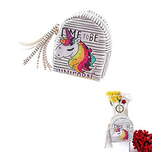 Monedero con diseño de Unicornio para Mujer y niña, de Piel sintética, con Cremallera, con Monedero y Llavero
