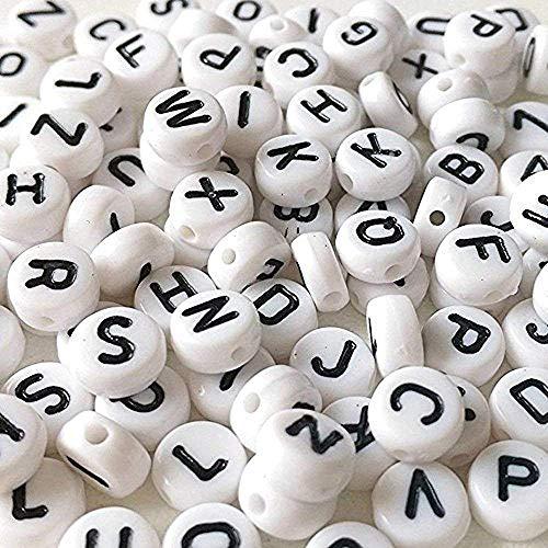 Haobase 260 pièces Rondes Lettres Alphabet Blanc Perles 7mm