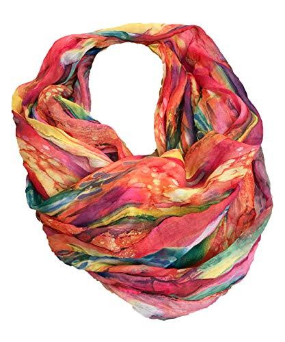 JameStyle26 Farbverlauf Seide Sommer Loop Verlauf Regenbogen Rainbow Silk Uni Rundschal Schlauchschal Stola Schal leicht (Pink)