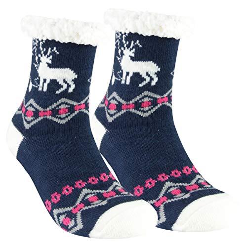 CULTZ 1 paar knuffelsokken met ABS-zool warme unisex dames heren sokken wintersokken met anti-slip noppen en teddyfell One Size 35-41