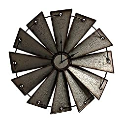 Gianna's Home Rustic Farmhouse Country Metal Windmill Wall Clock (24 in.)