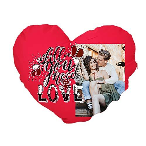 Cojín de algodón con corazón – Love – personalizado, fabricado en Italia