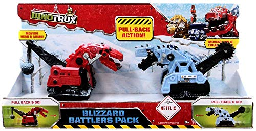 Dinotrux Blizzard Battlers Motorized Pull Back 2-Pack w32q21with Ty Rux & D-Structs
