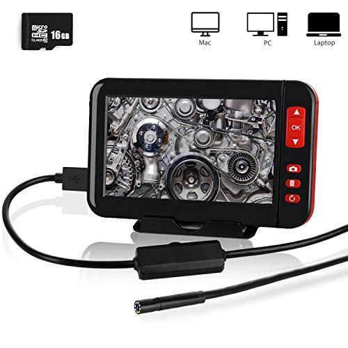 Endoskopkamera, 4,3 Zoll 1080P HD LCD Bildschirm, 8mm Endoskop IP67 Wasserdicht Inspektionskamera mit 8 LED Licht 5M Halbsteife Flexible Schlangenkamera einschließen 16G SD-Karte (16.4ft)