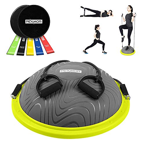 PEXMOR Latest Version Yoga Hall Ball, Sport Balance Trainer with Resistance Band, Balance Ball for Home Gym Training Workout, with Exercise Loop & Core Sliders (Gray)