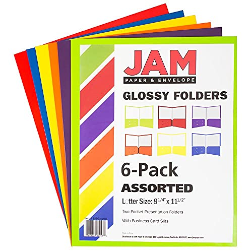 JAM PAPER Laminated Two Pocket Glossy School Folders - Letter Size - High Gloss Assorted Primary Colors - 6/Pack