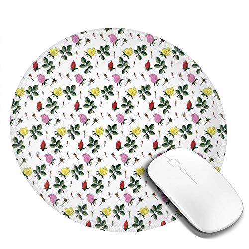 Alfombrilla de ratón redonda lavable, coloridos brotes de rosas rojas rosas y amarillas con hojas verdes sobre fondo liso, alfombrilla de goma antideslizante