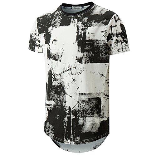 KLIEGOU Mens Hipster Hip Hop Ripped Round Hemline Pattern Print T Shirt 86 White S