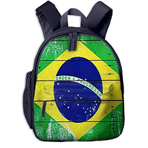 Mochilas Infantiles, Bolsa Mochila Niño Mochila Bebe Guarderia Mochila Escolar con Bandera Brasil De Madera De Edad para Niños De 3 A 6 Años De Edad