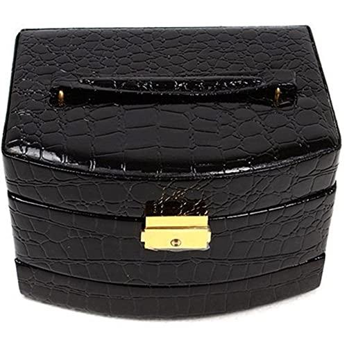 SMEJS Joyero de cuero sintético para mujer, caja de almacenamiento de joyas con cerradura, pendientes colgantes, collares, pulsera, anillos, cajones de almacenamiento con espejo, color negro
