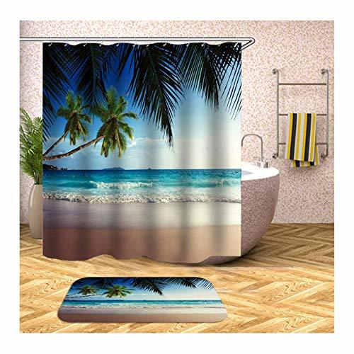 Daesar Toilettenteppich 40x60 Kokospalme am Meer Vintage Duschvorhang 180x200 cm, Badematten Set 2 Teilig