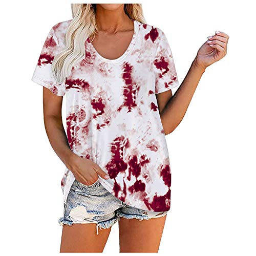 AIchenYW Tie Dye - Blusa de verano para mujer, elegante, manga corta, cuello en V, informal, holgada, para adolescentes, niñas, tamaño grande, multicolor, básica, túnica I - rojo. M