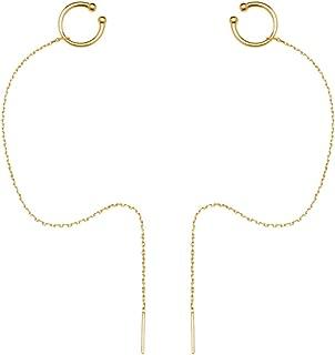 925 Sterling Silver Cuff Chain Earrings Wrap Tassel Earrings for Women Crawler Earrings