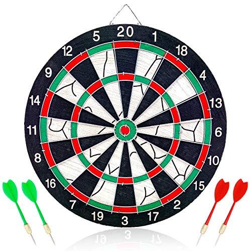 Jeu de fléchettes 12 Pouces, cibles de fléchettes Double Face avec 4 fléchettes, 2 Modes, Facile à accrocher, Robuste et Durable