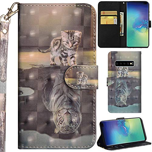 Ooboom Samsung Galaxy S10 Hülle 3D Flip PU Leder Schutzhülle Handy Tasche Hülle Cover Ständer mit Trageschlaufe Magnetverschluss für Samsung Galaxy S10 - Katze Tiger