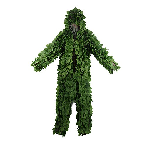 HYOUT Hooded Ghillie Suit Camo Suit Woodland and Forest Design Army Sniper Military 3D Green Leaf Clothing for Jungle Hunting Shooting Airsoft Wildlife Party