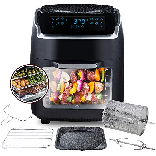 Modernhome Aria Air Fryer (10Qt Teflon-Free Air Fryer Oven with Rotating Rotisserie, Full Accessory Set, Racks, Pans, Dehydration, and Recipe Book)