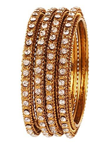 Touchstone Indische Bollywood feine Verarbeitung geschältes Metall weiß Rhein s Designer Schmuck Armbänder Armreif für Damen 2.25 Set von 4 Gold